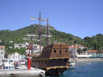 Bateau en bois, mer Adriatique, Croatie
