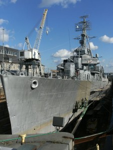 Navire de guerre, port de Boston