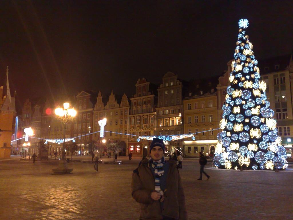 Sapin de Noël géant, place de marché, Wroclaw
