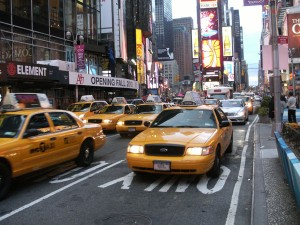 Taxis jaunes, Times Square, New York